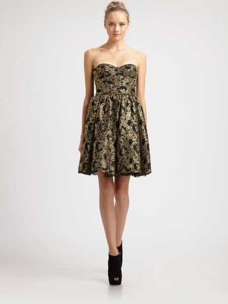 Alice + Olivia Caryn Bustier Dress in Gold (black) - Lyst