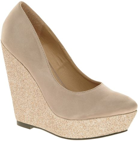 Asos Paramount Glitter Pointed Wedges in Beige (nude