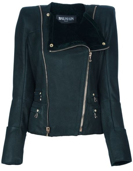 Balmain Lamb Skin Jacket in Green - Lyst