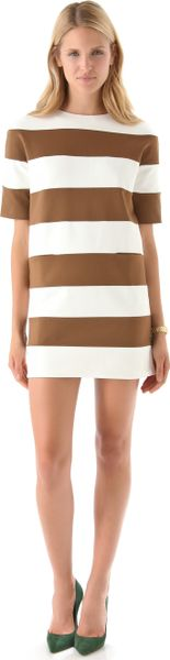 Dsquared2 Striped Jersey Mini Dress in Beige (camel) - Lyst