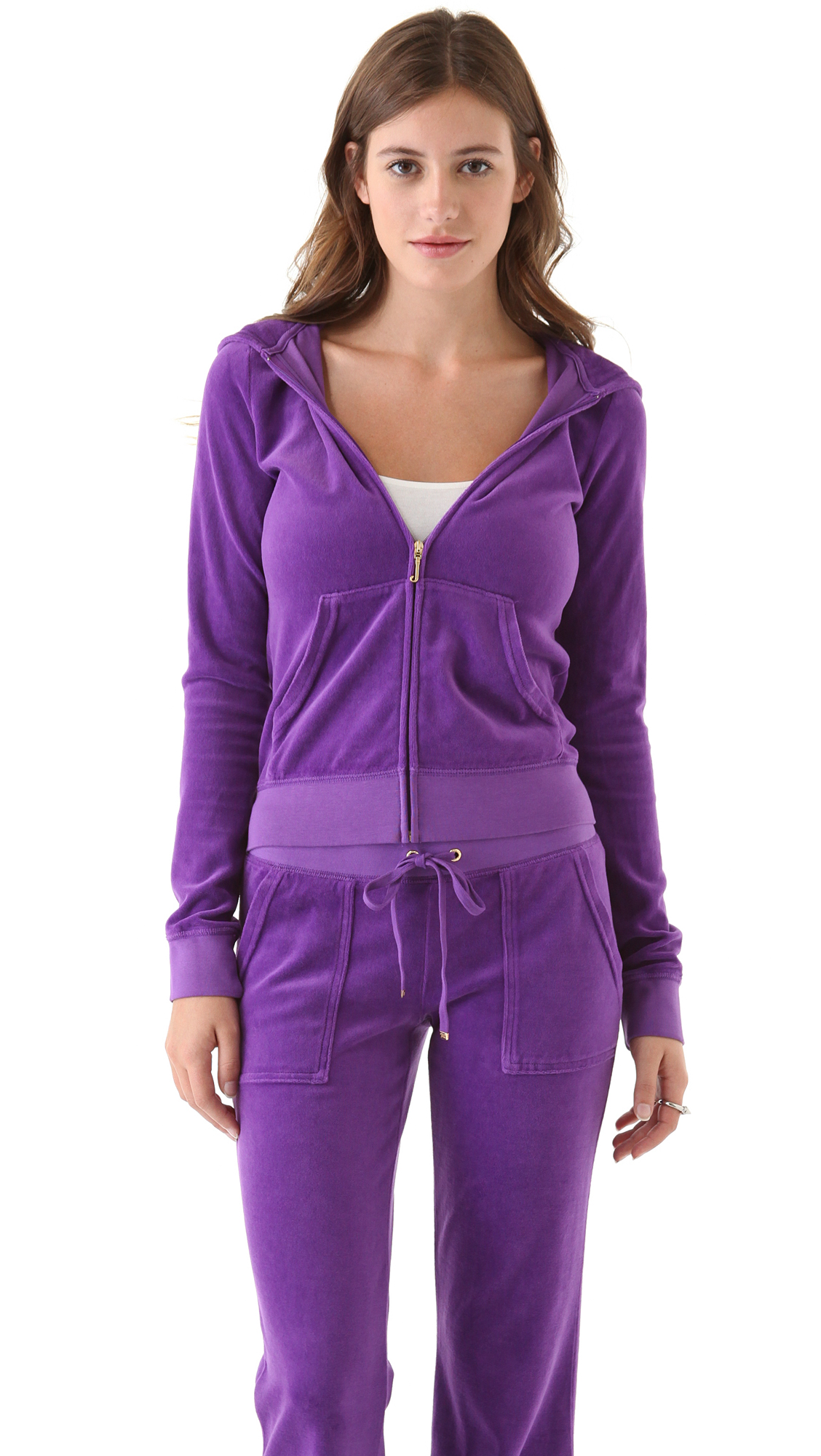Juicy couture original velour zip hoodie in purple lyst for Couture clothing