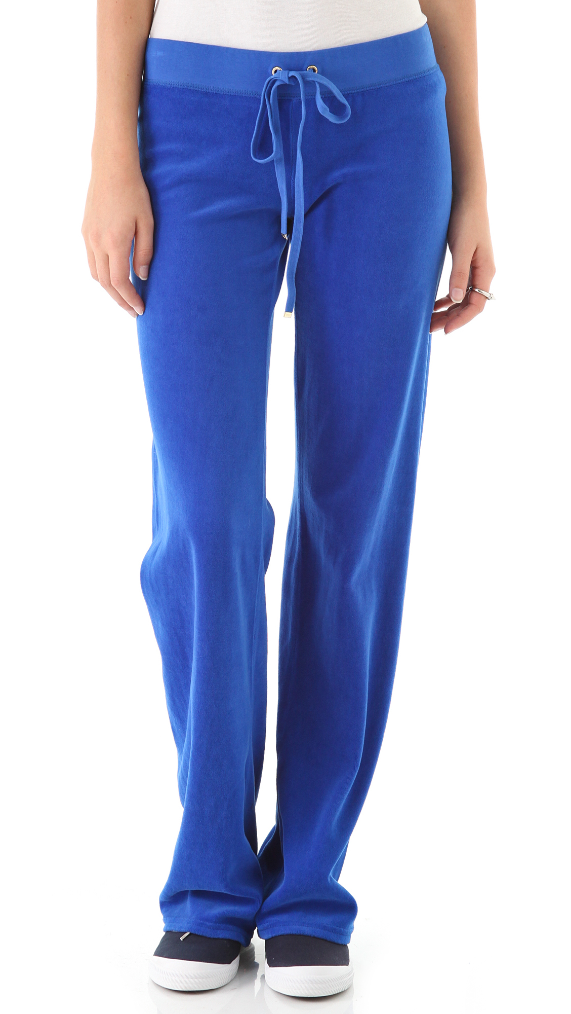 Juicy couture original wide leg velour pants in blue lyst for Couture clothing