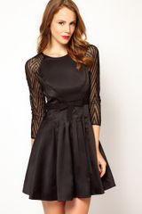 Karen Millen Zig Zag Mesh Sleeve Dress with Prom Skirt - Lyst