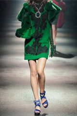 Lanvin Laceappliquéd Silkchiffon and Satin Dress in Green (emerald) - Lyst