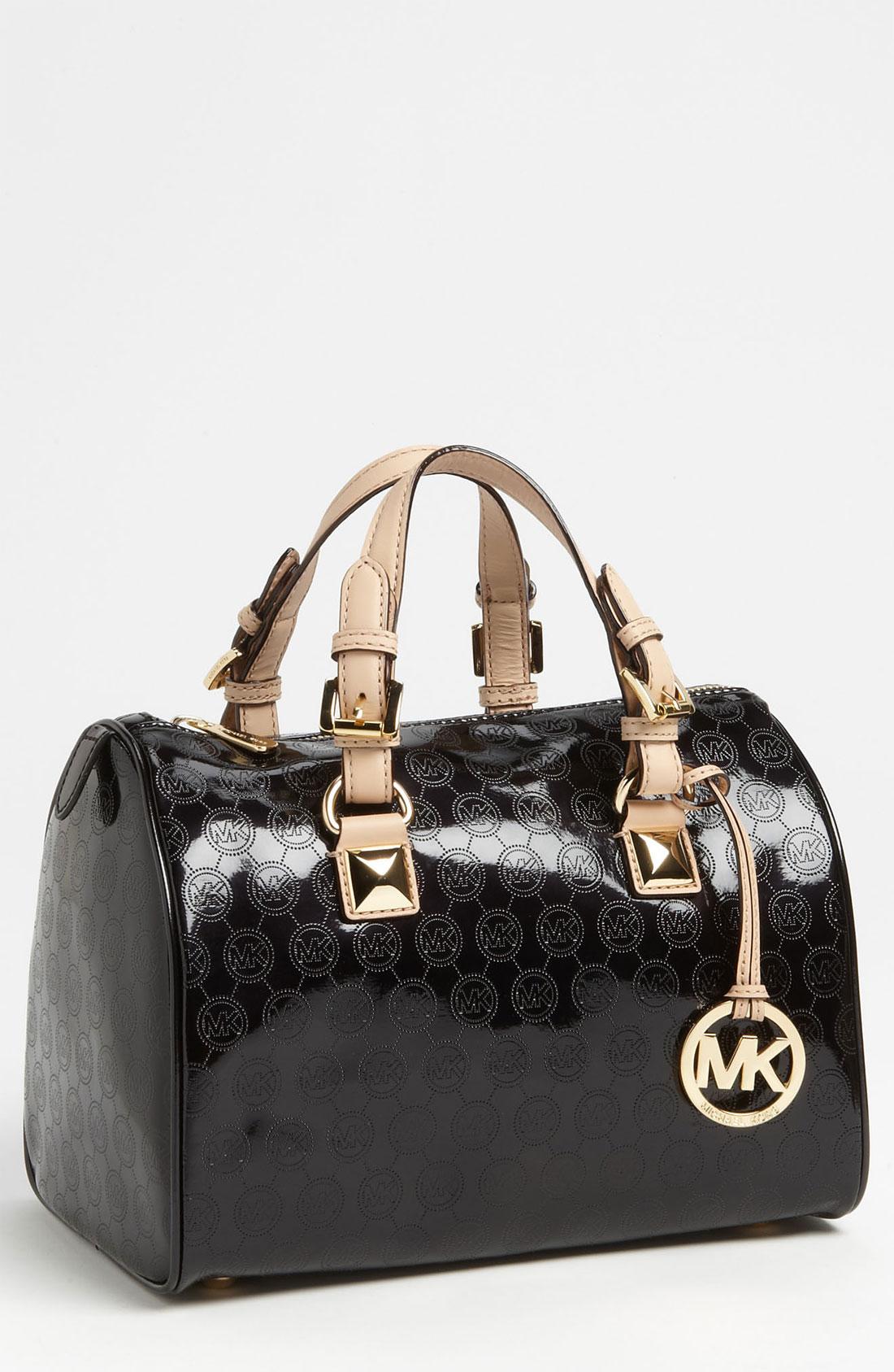 Reduced Michael Kors Grayson Shoulder - Bags Michael By Michael Kors Grayson Logo Medium Satchel Black