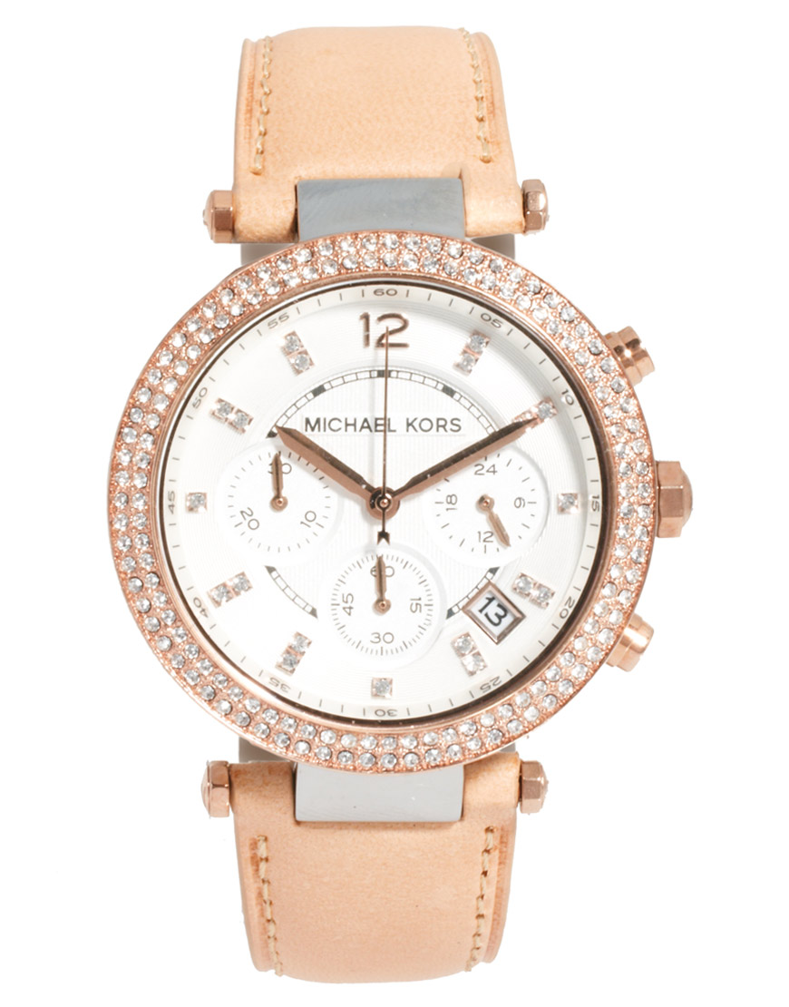 03329b4c9465 Lyst - Michael Kors Exclusive To Asos Diamante Chronograph Watch in ...