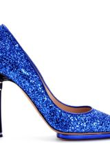 Nicholas Kirkwood Glitter Pumps with Bow Trimmed Heel in Blue - Lyst