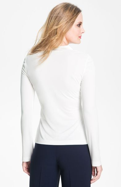 St John Collection Satin Trim Matte Jersey Top In White