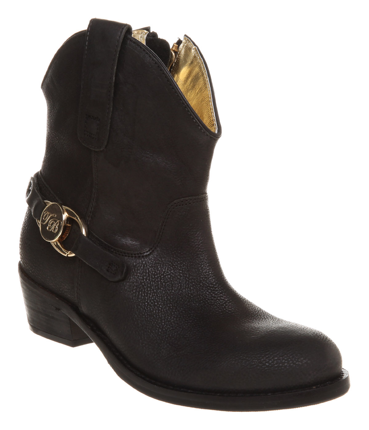 ted baker neha cowboy ankle boot black leather in black lyst