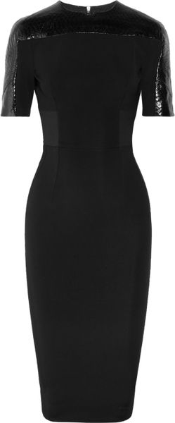 Victoria Beckham Stretchcrepe and Python Dress in Black - Lyst
