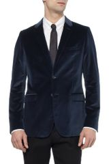 Burberry Slimfit Velvet Blazer in Blue for Men - Lyst