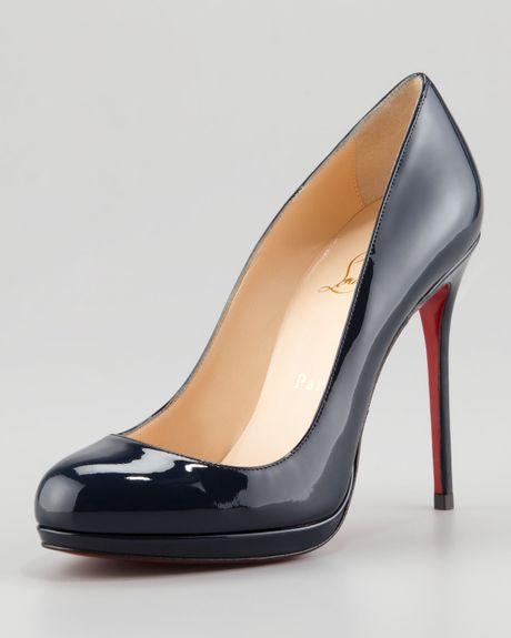 Christian Louboutin Filo Patent Platform Red Sole Pump Navy in Blue (navy) - Lyst