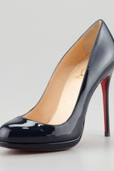 Christian Louboutin Filo Patent Platform Red Sole Pump Navy - Lyst