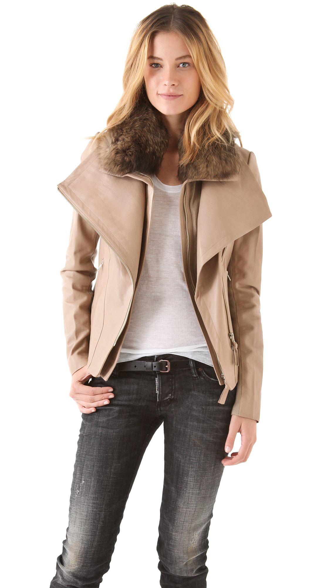Mackage Leather Coat with Fur Collar in Natural | Lyst