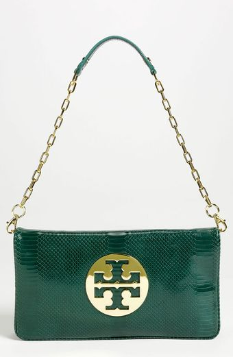 Tory Burch Reve Snake Embossed Clutch - Lyst