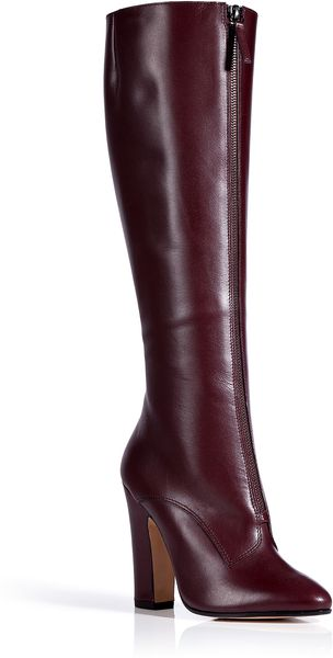 Vionnet Bordeaux Leather Front Zip Boots - Lyst
