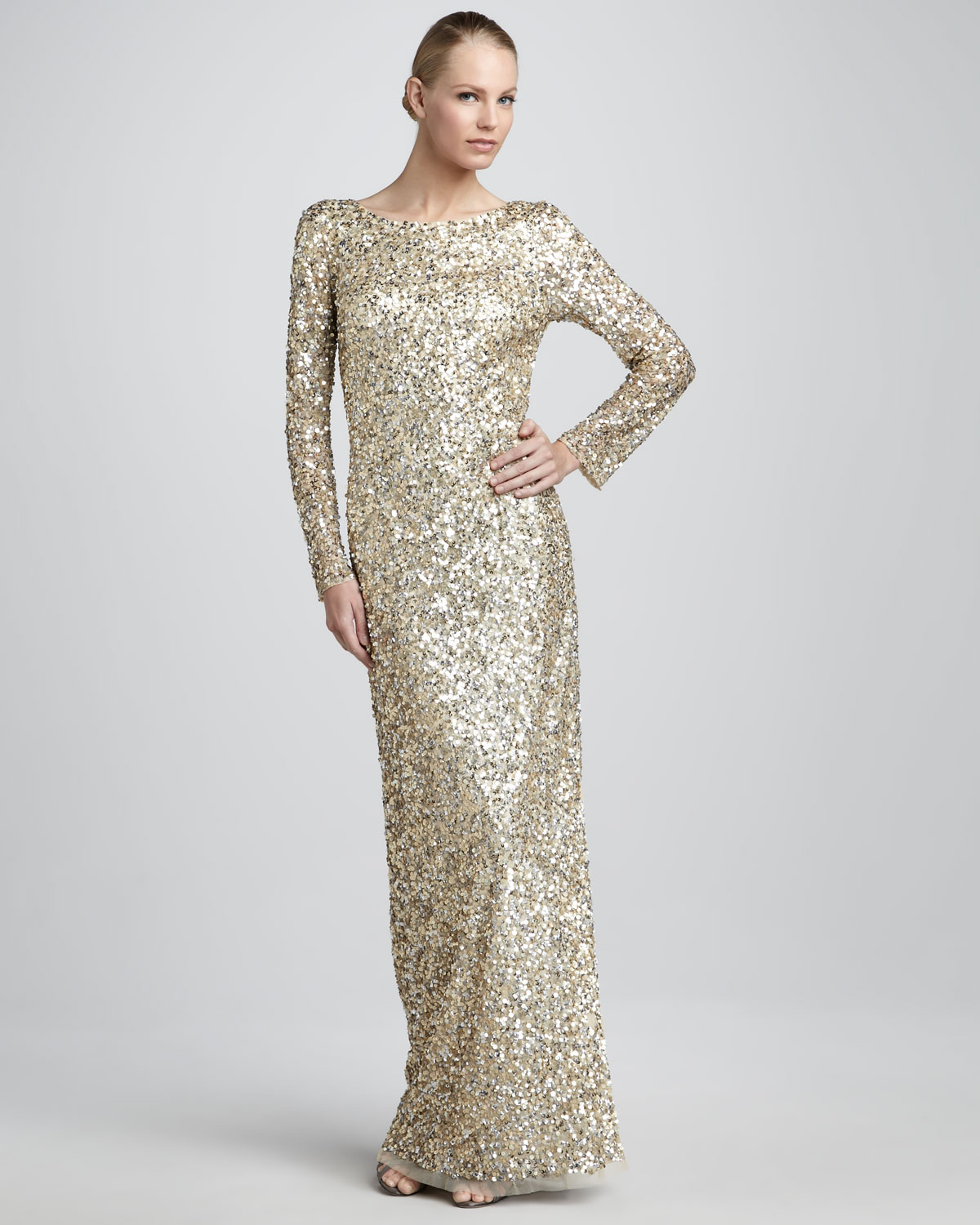 Aidan mattox Sequined Column Gown in Metallic | Lyst