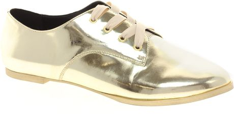 Asos Moment Metallic Flat Shoes in Gold (champagne) - Lyst
