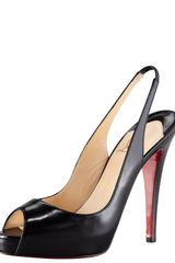 Christian Louboutin No Prive Leather Slingback Red Sole Pump Black - Lyst