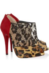 Christian Louboutin Aerotonoc 120 Calf Hair and Lace Ankle Boots in Multicolor (red) - Lyst