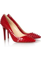 Christian Louboutin Pigalle 100 Spiked Patentleather Pumps - Lyst