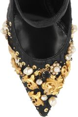 Dolce & Gabbana Embellished Brocade Mary Jane Pumps in Black - Lyst