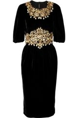 Dolce & Gabbana Embellished Velvet Dress in Gold (black) - Lyst