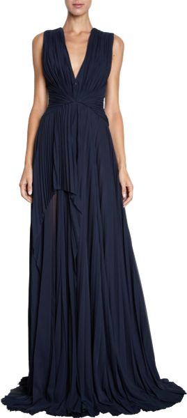 J. Mendel Vneck Gown in Blue (navy) - Lyst