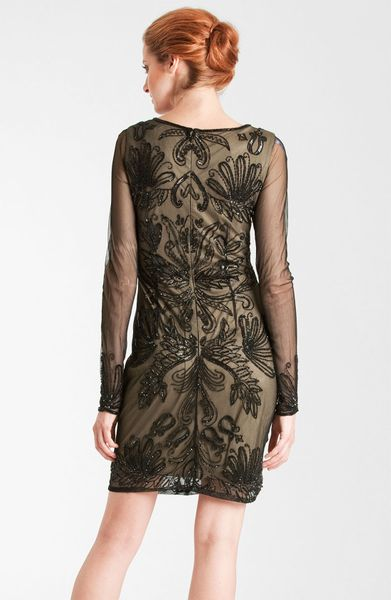 Js Collections Embroidered Sheer Sleeve Mesh Dress In