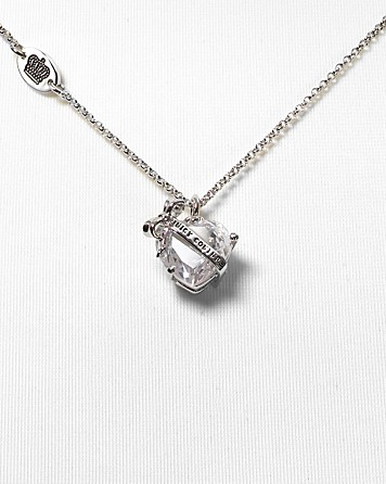 Lyst juicy couture silver chain faceted bow and heart pendant gallery aloadofball Gallery