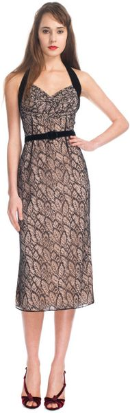 L'Wren Scott Ss Leaves Chantilly Lace and Stretch Georgette and Velvet Dress - Lyst