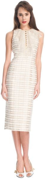 L'wren Scott Ss Gold Plaid Tweed and Gold Chantilly Lace Dress in Gold (gold/cream) - Lyst