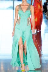 Matthew Williamson Ss Crinkle Chiffon Embroidered Cut Out Gown in Green (soft jade) - Lyst