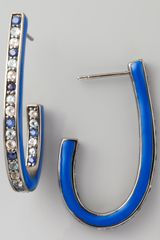 M.c.l By Matthew Campbell Laurenza Mixed Pave Sapphire J Hoop Earrings Blue - Lyst