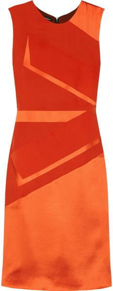 Narciso Rodriguez Spliced Silkcharmeuse Dress in Orange (coral) - Lyst
