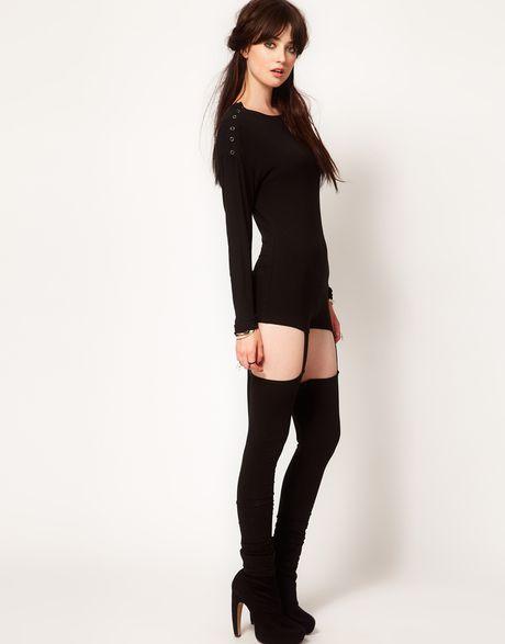One Teaspoon Wrong Number Jumpsuit with Suspender Leggings ...