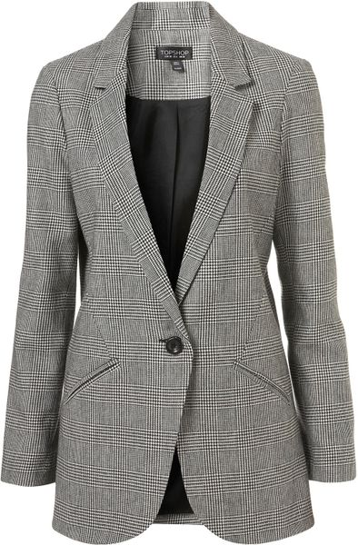 Topshop Check Longline Blazer in Gray (multi)
