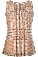 Tory Burch Sequinned Tartan Sleeveless Top - Lyst