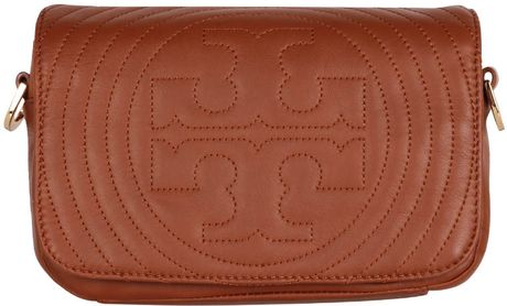 Tory Burch Stitched Logo Bag in Brown - Lyst