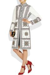 Valentino Embroidered Woolblend Coat in White (ivory) - Lyst