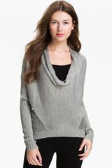 Vince Camuto Drape Neck Metallic Knit Sweater - Lyst
