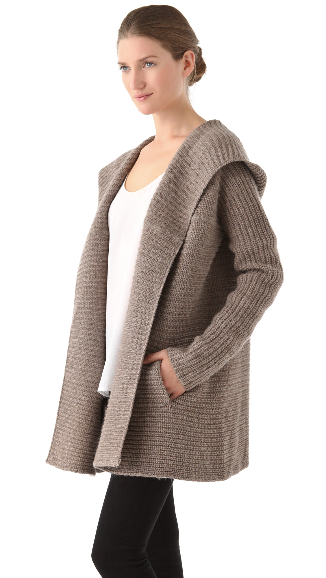 Vince Horizontal Rib Hooded Cardigan in Natural | Lyst