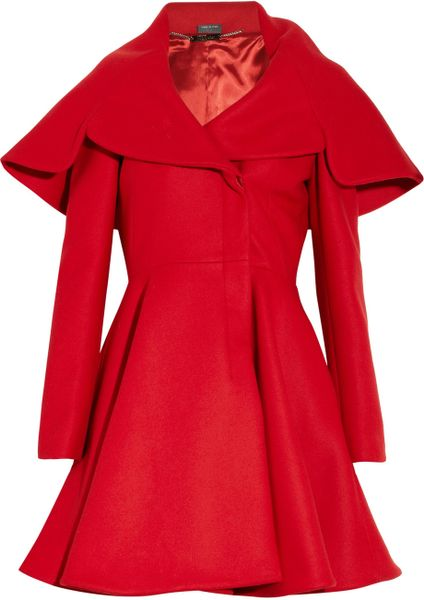 Alexander Mcqueen Woolfelt Coat in Red - Lyst