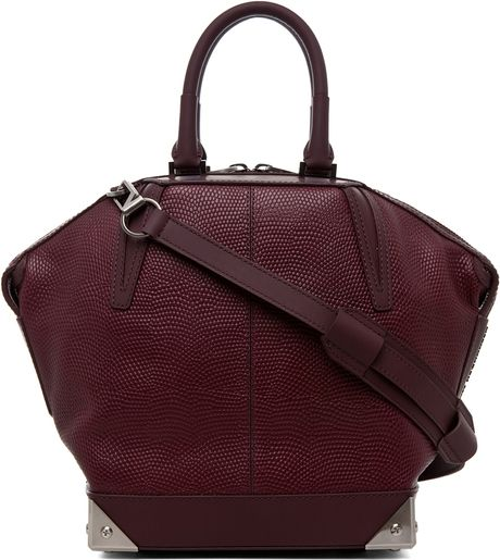Alexander Wang Small Emile Lizard Print Tote in Oxblood in Red (oxblood) - Lyst