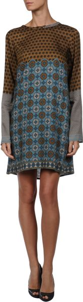 Alysi Short Dress in Multicolor (khaki) - Lyst