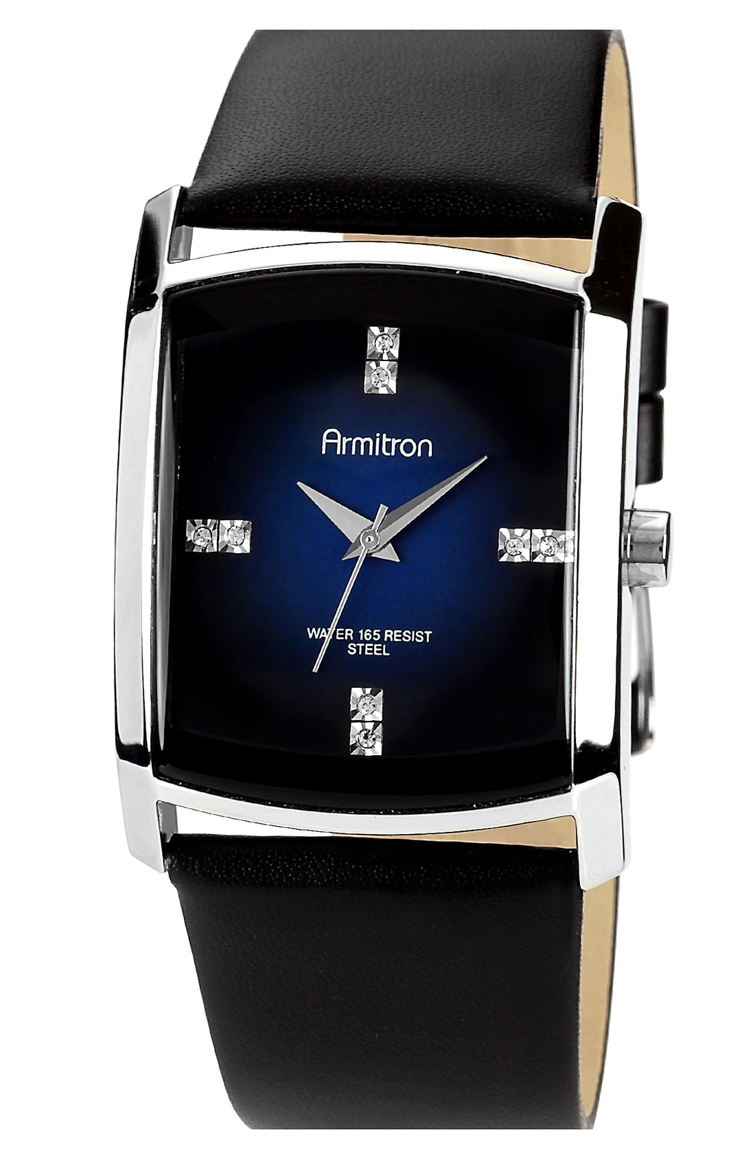 Armitron Square Dial Leather Strap Watch In Black For Men