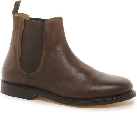 asos asos chelsea boots with leather sole in brown for