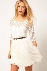ASOS Collection Asos Skater Dress in Spot Lace Mesh Skirt - Lyst