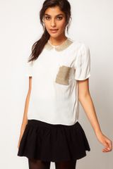 ASOS Collection Asos Top with Embellished Collar and Pocket - Lyst