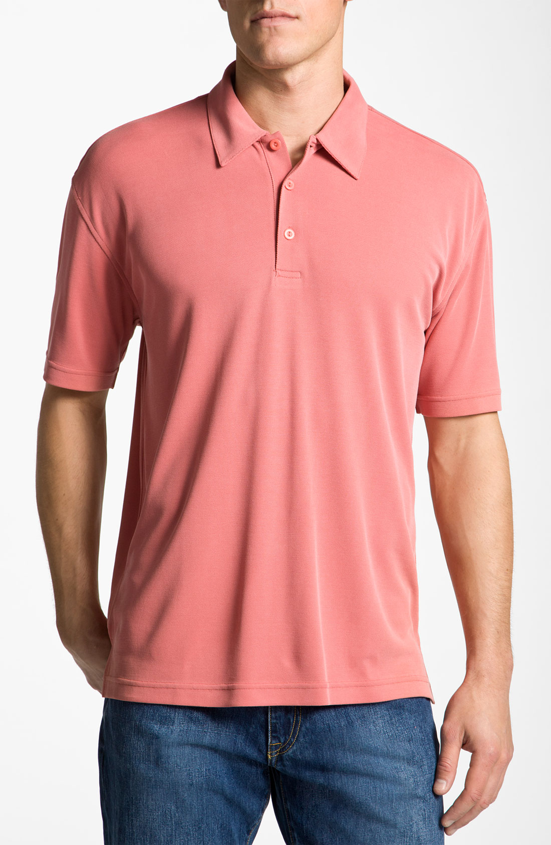 Burma Bibas Regular Fit Knit Polo In Pink For Men Coral